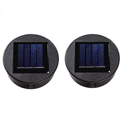 ANGMLN 2 Solarleuchten Ersatz Top mit LED Leuchtmitteln Solarpanel Laterne Deckel Leuchten Ersatzoberteil Glühbirne Ersatzteil für Outdoor Hängelaternen DIY für LED Solarleuchten Garten Decor