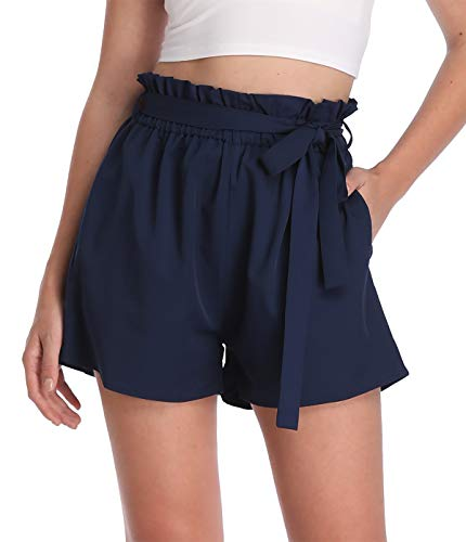 MISS MOLY Kurze Hose Damen Sommer Shorts Hohe Taille mit Bindergürtel High Waist Leicht Navyblau Large