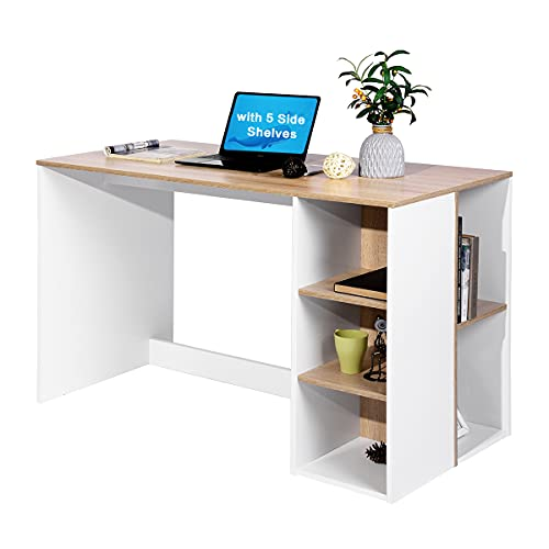 Writing Computer Desk with Storage, Large Study Desk with 5 Shelves Home Office Table Wood Computer Workstation with Integrated Bookcase,Beech & White