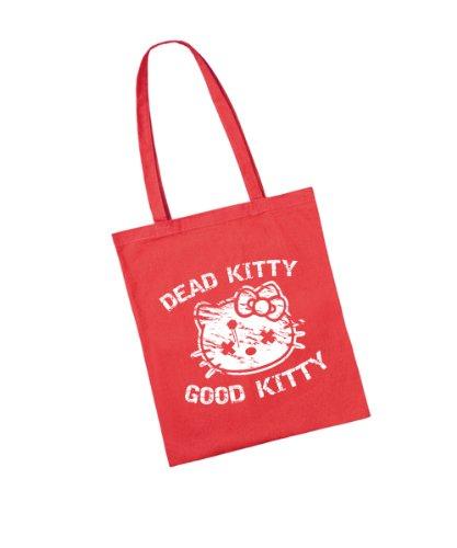 clothinx - Dead Kitty Good Kitty - Baumwolltasche Rot, langer Henkel