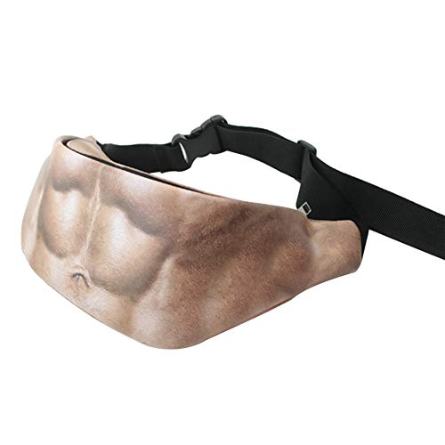 MoGist Gürteltasche Kreatives lustiges Bierbauch Bauchmuskel Muster PU Wasserdicht Bauchtasche Outdoor Reise Sport Hüfttasche (Style4)