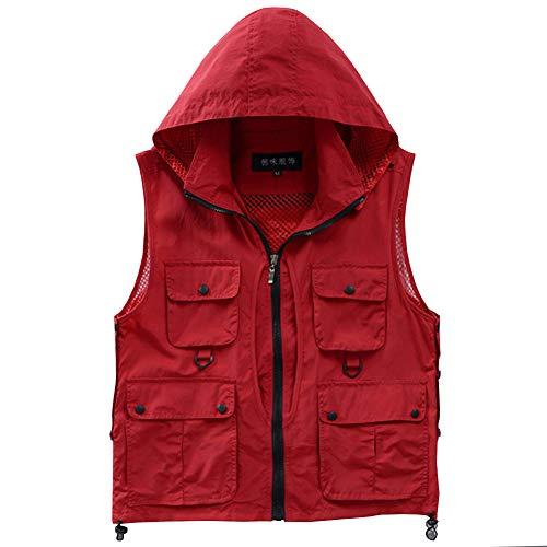 Shengwan Uomo Donna Traspirante Gilet per Sport Outdoor Multi-Tasche Gilet da Pesca Campeggio Caccia Fotografia con Cappuccio Staccabile Rosso L