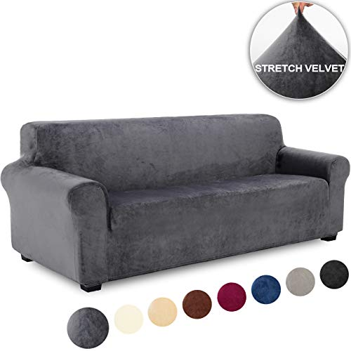 TIANSHU Samt Sofabezug 4 sitzer,Soft Velvet Plush Couchbezug stilvolle Möbelbezüge Anti-Rutsch-High Stretch Sesselbezug(4 Sitzer,Grau)