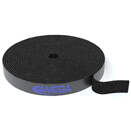JAMEGA – Klett Kabelbinder 10m x 15mm | Frei zuschneidbar wiederverwendbare Klettkabelbinder auf Rolle | Kabel-Klettband Klettverschluss Kabelklett Kabelorganizer Kabelmanager