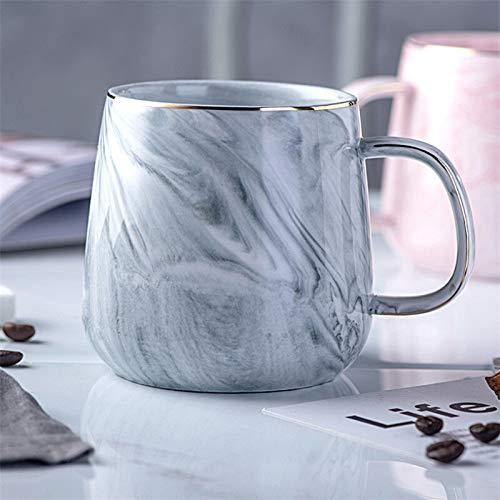 Porcelain Cup Creative European Phnom Penh Milk Coffee Mugs Marble Pattern Breakfast Water Mug Office Home Drinkware Tea Cup Lover's Gifts (Color : Gray)