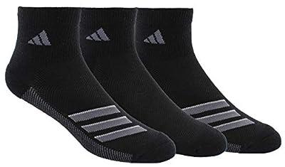 adidas Men's Superlite Stripe Quarter Socks (3-Pair), Black/Onix/Light Onix, Large, (Shoe Size 6-12)