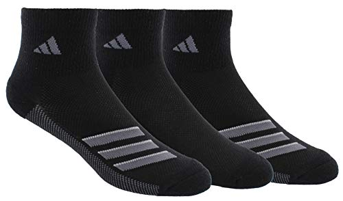 adidas Men's Superlite Stripe Quarter Socks (3-Pair), Black/Onix/Light Onix, Large, (Shoe Size 6-12)