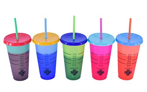 SOLANOTRADERS Farbwechsel-Becher, 680 ml, 5 Stück, wiederverwendbar, mit gratis Deckel und Strohhalmen, für Eiswasser, Starbucks Getränke, Eiskaffee