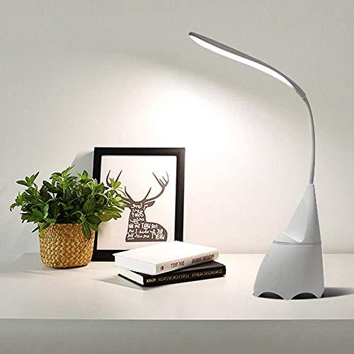 Lámpara de Mesa LED con Cuello de Cisne Flexible Luz de Mesa para el Cuidado de los Ojos 3 temperaturas de Color Control táctil Lámpara de cabecera USB Recargable La