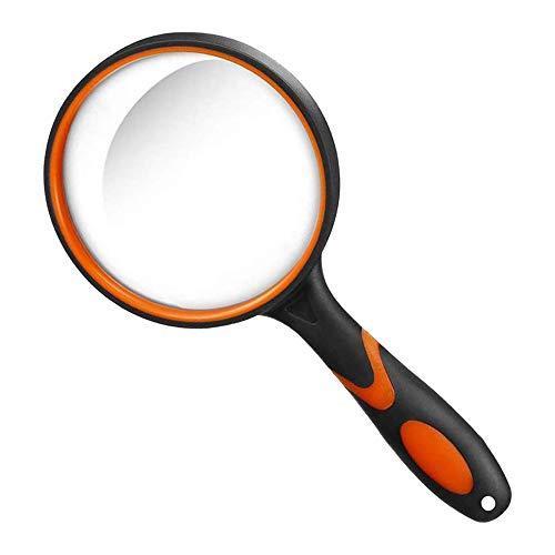 Große 10-fache Vergrößerungsbrille zum Lesen, Handlupe für Spulen, für Wissenschaftsbücher, Hobby-Beobachtung, hochwertiger weicher Handschaft für Senioren