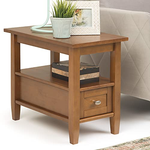 SIMPLIHOME Warm Shaker SOLID WOOD 14 inch wide Rectangle Rustic Contemporary Narrow Side Table in Light Golden Brown with Storage, 1 Drawer and 1 Shelf, for the Living Room and Bedroom