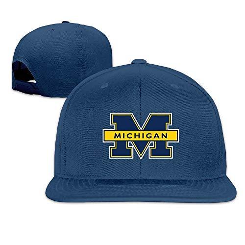 Youaini Michigan Wolverines Logo Unisex Fashion Cool Adjustable Snapback Baseball Cap Hat One Size Navy