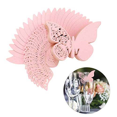 Farfalla Tazza Carta 100 pezzi Luccichio Laser Cut Farfalla Nome Segnaposto Champagne Bicchiere di vino Decorazione Matrimonio Fidanzamento Favore di PartitoTavolo Numero Rosa