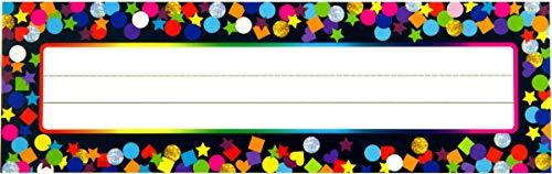 Desk Name Plate Confetti-Themed for School Classroom 36 Pcs