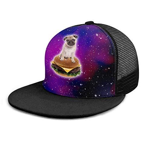 NA Baseball Cap Burger Mops im Weltraum Lustige Hamburger Unisex Flache Krempe Hut Baseball Caps