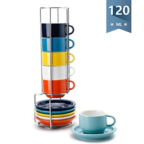 Sweese 405.002 6-teilig Stapelbare Espressotassen Set aus Porzellan, Kaffeetassen mit Untertasse und Metall Ständer, Bunte Serie, 120 ml