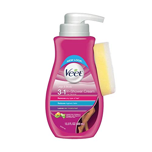 Hair Removal Cream - Veet Legs & Body In Shower Cream Hair Remover, Sensitive Formula with Aloe Vera and Vitamin E, 13.5 fl oz Pump Bottle (Pack of 2)
