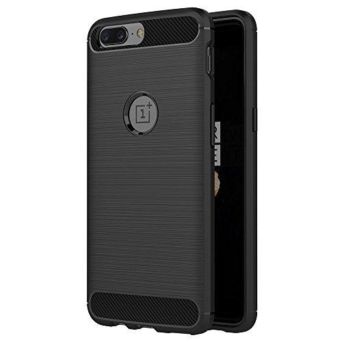Hoesje voor OnePlus 5 (6 inch Scherm) Geborsteld Koolstofvezel TPU Schokbestendige Antislip Zachte Beschermende Case (Zwart)