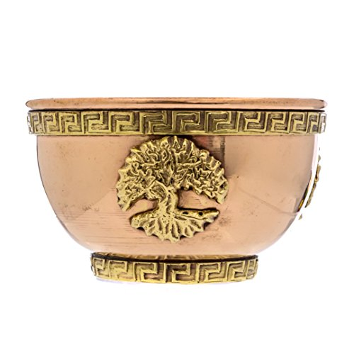 Alternative Imagination Tree of Life Copper Offering Bowl for Altar Use, Rituals, Incense, Smudging, Decoration, and More