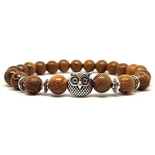 KARDINAL WEIST Eulen Holz Perlen Armband, Yoga Natur Schmuck für Damen und Herren, Kraftier - Harmonie - Ruhe - Energie - Anti Stress (1 - Eule)