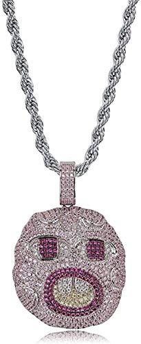 huangxuanchen co.,ltd Collar Collar Cadena Iced out Chapado en Oro de 18 Quilates Completamente Cz Diamante simulado Dientes Frontales exagerados Collar Colgante de Hip Hop para Hombres Mujeres