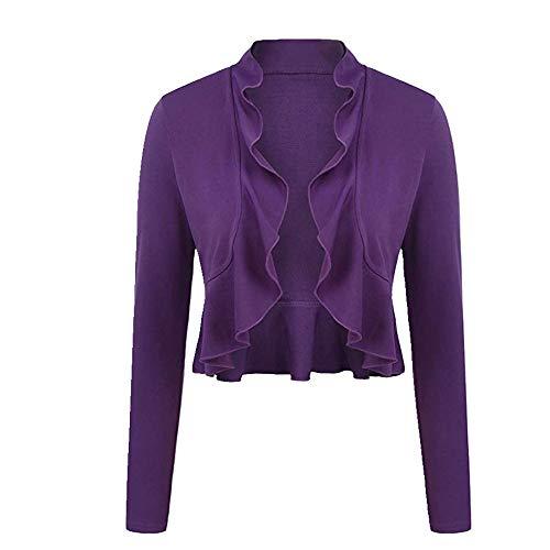 NOBRAND - Abrigo corto con cuello de onda para mujer