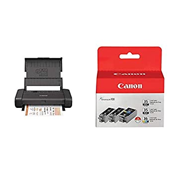 Canon PIXMA TR150 Wireless Mobile Printer with Airprint and Cloud Compatible Black with PGI-35 Twin Black & CLI-36 Color Ink  1509B007AB/AE