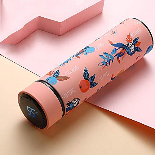 FPXNBONE Vakuum-Isolierte auslaufsicher Trinkflasche,Intelligenter Edelstahl-Temperaturmessbecher, Vakuum-Isolierbecher mit großem Fassungsvermögen-E,Vakuum Isolierte Edelstahl Trinkflasche