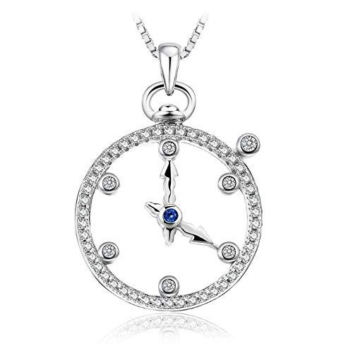 Roapk Zafiro Milgrain Reloj Circular Encanto Colgante Collar Cadena Plata De Ley 925