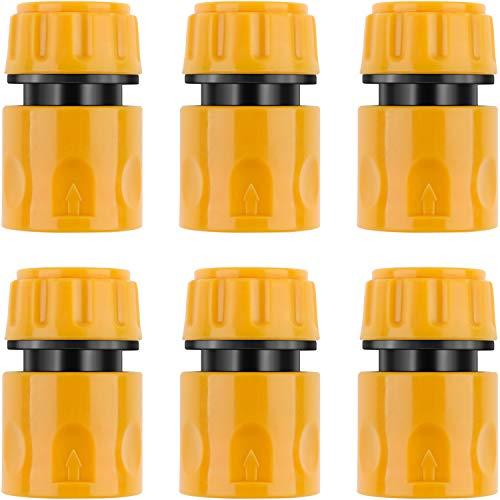6 Packungen Kunststoff Gartenschlauch Endverbinder für 1/ 2 Zoll Schlauchleitungs Schnellkupplung (Schnell Verbinder)