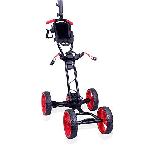 JLDN Golftrolley 4 Rad, Golfwagen mit Regenschirmhalter fussbremse Golf Cart Faltbar eine sekunde zum Öffnen & schliessen,Black