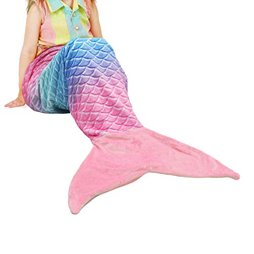 Catalonia Kids Mermaid Tail Blanket,Super Soft Plush Flannel Sleeping Snuggle Blanket for Teen Girls,Rainbow Ombre,Fish Scale Pattern,Gift Idea