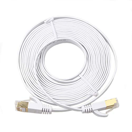 RIHOME Cat 6 Ethernet Cable FTP 50ft Long Flat Internet Network LAN Patch Cords – Solid Cat6 High Speed Computer Wire with Clips& Snagless Gold-Plated Rj45 Connectors (50 feet White)