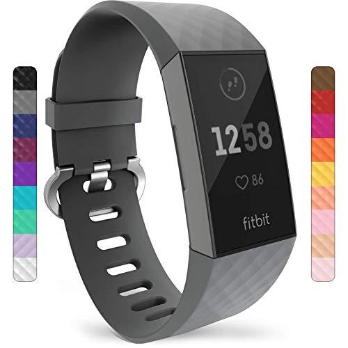 Yousave Accessories Compatibile Cinturino per Fitbit Charge3 / Charge4, Cinturino Sportivo Compatibile per Il Fitbit Charge 3 / Fitbit Charge 4 - Grande - Grigio