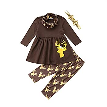 Toddler Girls 4Pcs Clothing Sets Long Sleeve Blouse+Cute Deer Leggings+Scarf+Headband Christmas Outfits  1-2T Brown