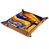 Bandeja de cuero para mesita de noche, organizador de joyas para hombres, monedero, caja de viaje, bandeja de valet, pintura al óleo puesta del sol