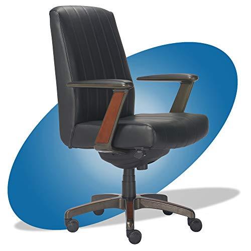 La-Z-Boy Bennett Modern Executive Lumbar Support, Rich Wood Inlay, High-Back Ergonomic Office Chair, Bonded Leather, Black -  Millwork Holdings Co., Inc., CHR10082B
