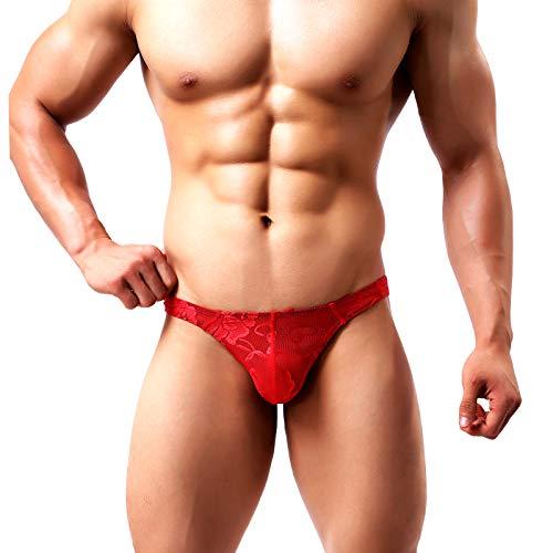 Arjen Kroos Homme String Sexy Thong Tanga Respirant Slips sous-vêtement Dentelles Florales,36-38,A3- Rouge