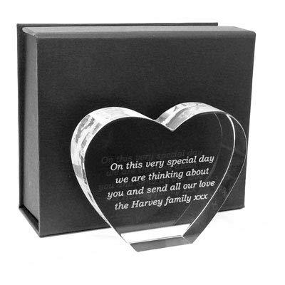Le cœur en cristal avec message gravé