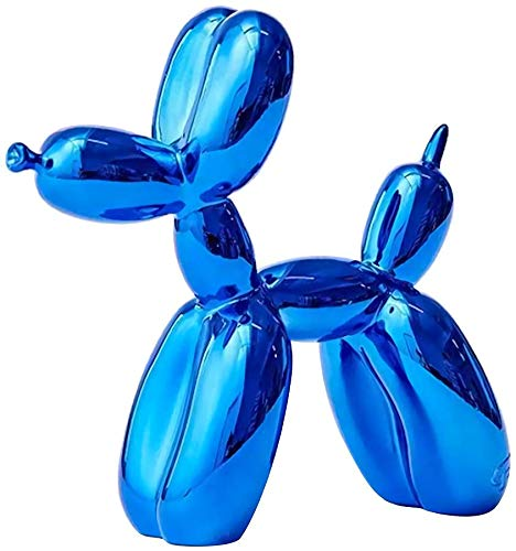 Jeff Koons Résine Chien Statue,Ballon Dog Sculpture Moderne Décoratives pour Salon et Bureau, Galvanoplastie ,Bleu
