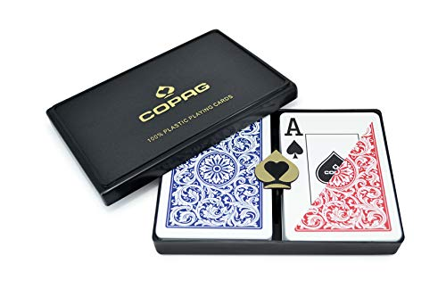 Copag 1546 Design 100% Plastic Playing Cards, Poker Size Jumbo Index Red/Blue Double Deck Set