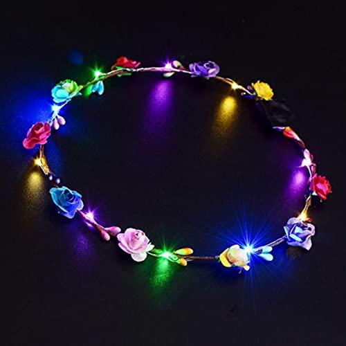 YoBuyBuy LED brillante corona flor corona banda para el cabello boda guirnalda Floral Festival flor tocado accesorio para el cabello Festival