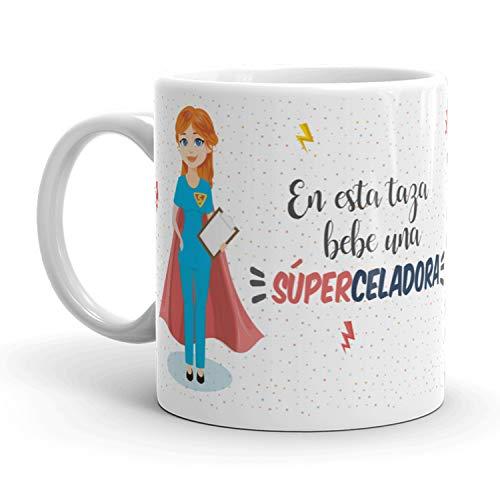 Kembilove Taza de Café de Celadora – En Esta Taza Bebe una Súper Celadora – Taza de Desayuno para la Oficina – Taza de Café y Té para Profesionales – Tazas para Celadoras de Superhéroes