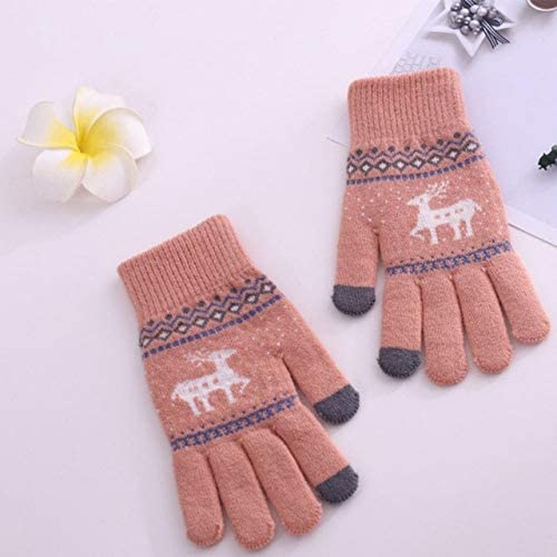 Fashion Women Winter Gloves Wool Warm Full Finger Touch Screen Gloves 2018 - (Color: Pink)