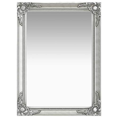 vidaXL Wandspiegel im Barock-Stil Antik mit Montagehaken Hängespiegel Dekospiegel Badspiegel Spiegel Flurspiegel Garderobe 60x80cm Silbern