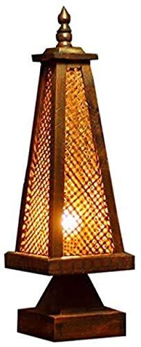 Lámpara de mesa estilo tailandés tejido de bambú lámpara de mesa lámpara antigua lámpara de mesa de madera salón en forma de torre cama sala de estar