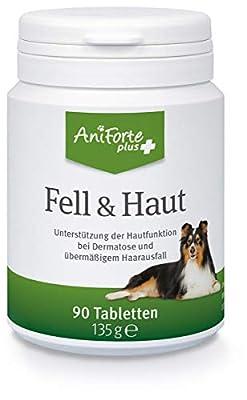 AniForte Plus Fell & Haut für Hunde 90 Tabletten - bei Dermatose & Haarausfall, MSM, Biotin zur Unterstützung der Hautfunktion, Präbiotika bei Fellproblemen, Hautproblemen, Erkrankung der Haut