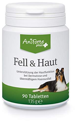 AniForte Plus Fell & Haut für Hunde 90 Tabletten - bei Dermatose & Haarausfall, MSM, Biotin zur Unterstützung der Hautfunktion, Präbiotika bei Fellproblemen,...