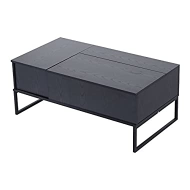 HOMCOM 43  Modern Lift-Top Coffee Table - Black