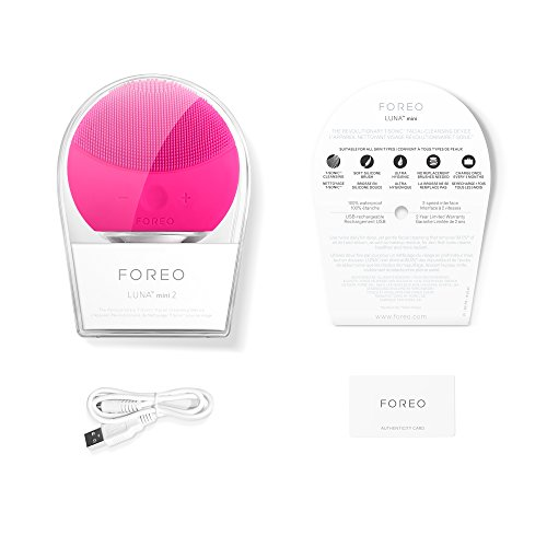 FOREO LUNA mini 2 Facial Cleansing Brush and Portable Skin Care device made with Ultra Hygienic Soft Silicone for Every Skin Type USB Rechargeable Fuchsia